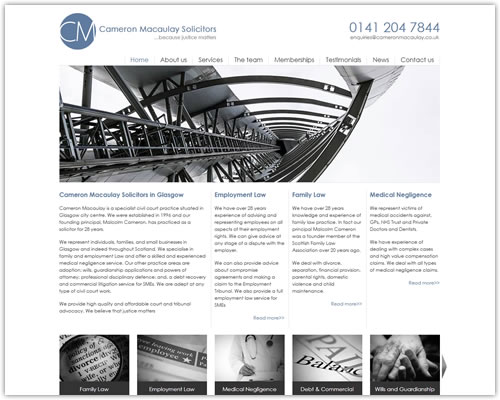 Web Design and Photography for Cameron Macaulay Solicitors
