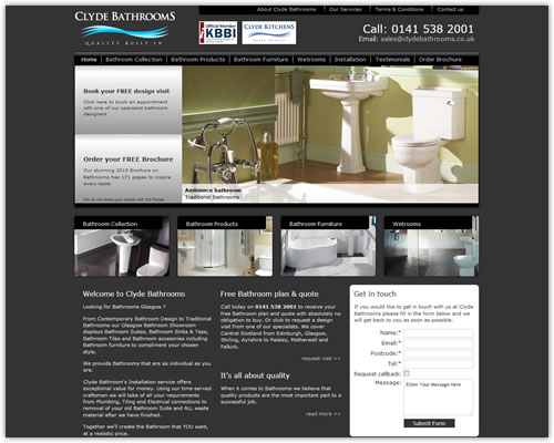 Web Design for Clyde Bathrooms