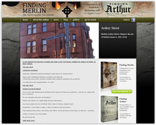 Website to promote the book Finding Merlin