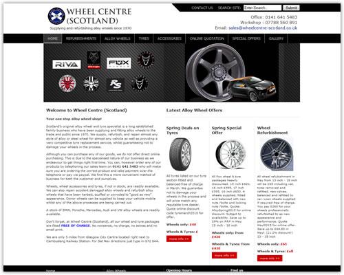 Web Design for Wheel Centre (Scotland)