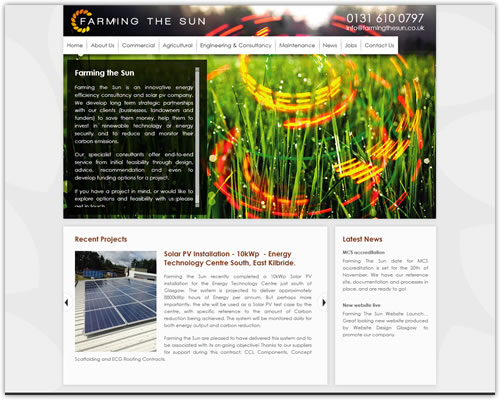 Content Managed Website for Farming the Sun
