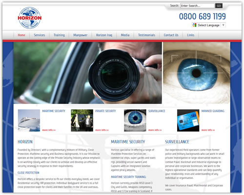 Web design and branding for Horizon Security