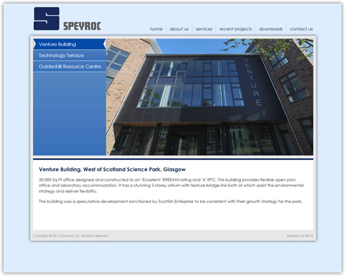 Website design and development for Speyroc Ltd