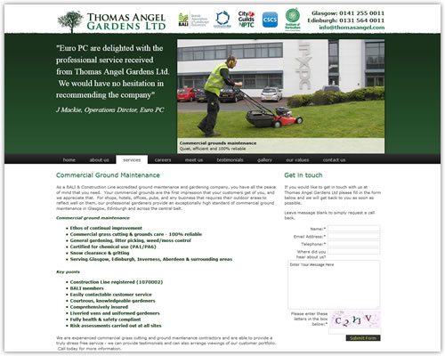 Web Design for Thomas Angel Gardens Ltd