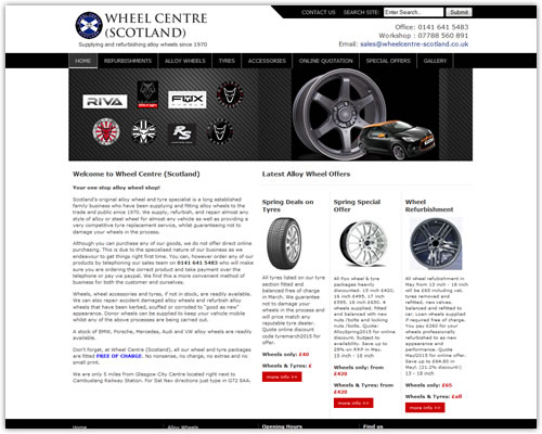 Web Design for Wheel Centre (Scotland)